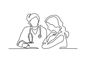 Doctor with stethoscope treat patient woman.