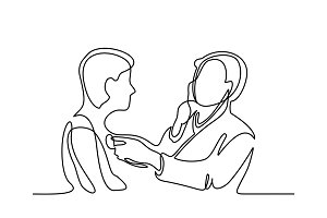 Doctor with stethoscope treat patient man.