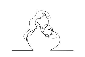 Simple line art of a mother holding her baby