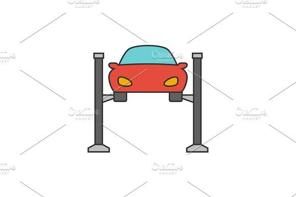 Car Lifting Flat Line Icon
