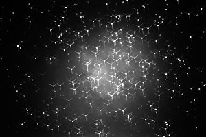 Horizontal black and white particles in space