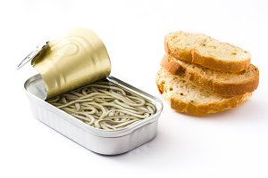 Baby eel can and toast bread