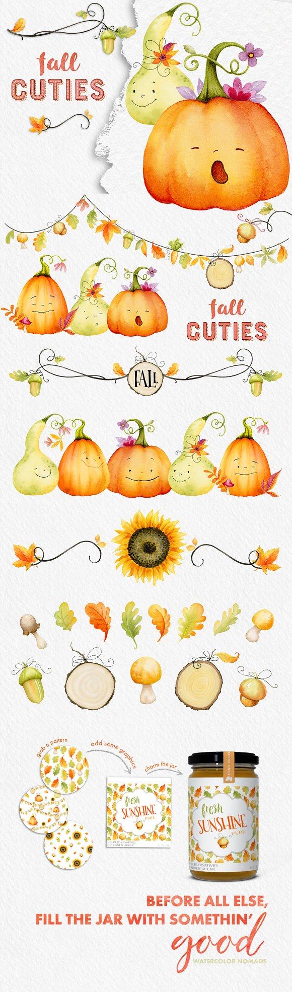 Fall Cuties Autumn Watercolor Set