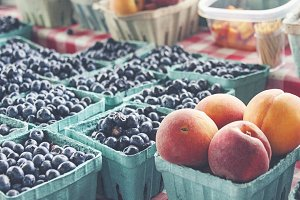 Blueberries & Peaches at Market