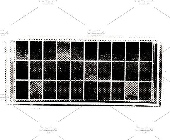 Horizontal Black And White Windows Patchwork Illustration Background