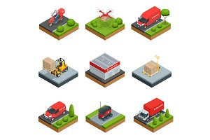 Logistics isometric icons set of different transportation distribution vehicles and delivery elements isolated vector illustration Delivery and storage concept infographics with flat