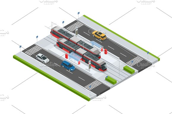 Modern Tramway On The Stop And Cars On The Road Metropolitan Mass Transit System Icons Featuring Tram Car Cable Car And Modern Tramway Train Ideal For Transportation Infographics City Transport