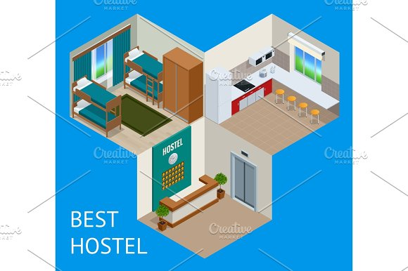 Youth Hostel Building Facade Backpack Double Decker Bunk Bed Room Key Travel And Tourism Business Themed Items