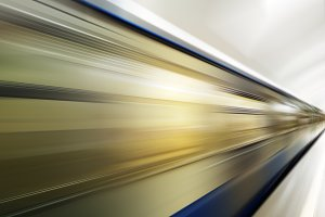 Diagonal motion blur metro train background