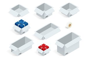 Isometric collection of various cardboard boxes on white background Vector illustration.