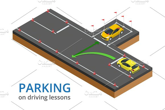 Trained In Driving School Concept Parking On Driving Lessons And Test Drive