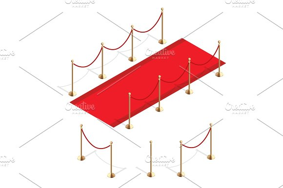 Isometric Red Event Carpet And Barrier Rope Isolated On A White Background