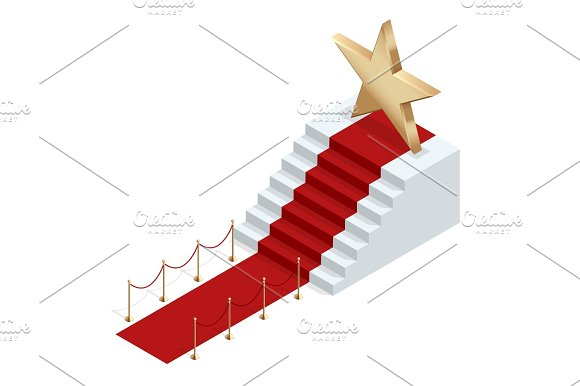 Isometric Red Event Carpet Isolated On A White Background Red Carpet Event With White Marble Stairs And Gold Queue Rope Barriers Posts Stands Realistic Vector Illustration