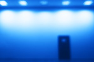 Horizontal door bokeh with blue light glow background