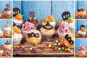 Halloween cupcakes with colored decorations made from confectionery mastic, soft focus background