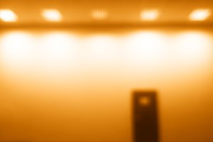 Horizontal door bokeh with orange light glow background