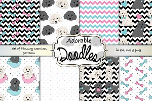 Doodle dogs seamless pattern set