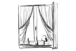 Window and curtains sketch. Interior