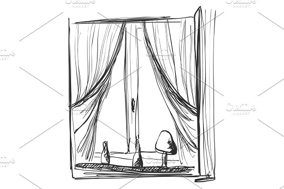 Window And Curtains Sketch Interior