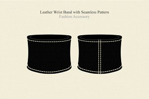 Black Leather Wrist Band Accessory