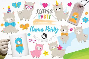 Llama party illustration pack