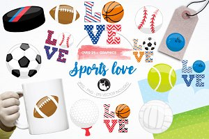 Sports love illustration pack