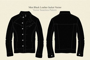 Men Black Leather Jacket Vector