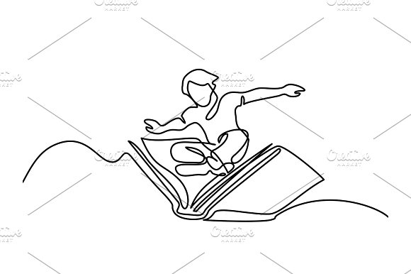 Small Boy Flying With Book In The Sky