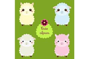 Cute alpaca. Kawaii llama eps+jpg