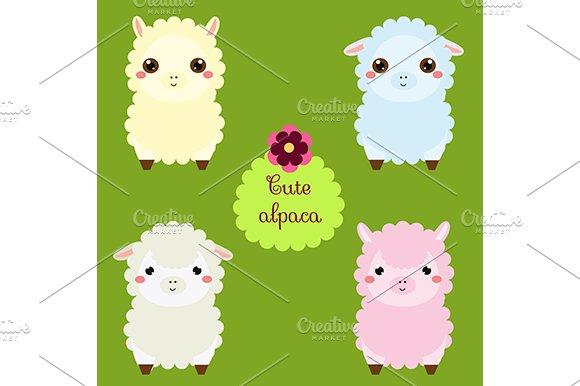 Cute Alpaca Kawaii Llama Eps Jpg