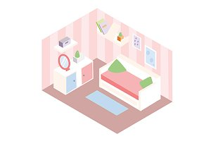 Isometric room interior icon