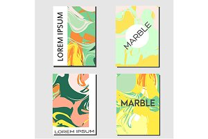 Abstract flyers with marbling effect