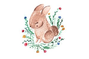 Tiny rabbit. Cute watercolor bunny