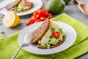 Healthy bread with avocado spread