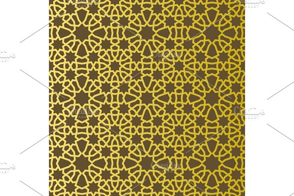 Traditional East Geometric Decorative Pattern Gold Style Arabic Pattern Background Islamic Ornament Vector