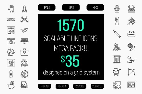 1570 scalable line icon pack.