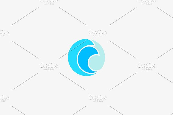 Wave Vector Logo Design Sea Surf Gold Symbol Logotype