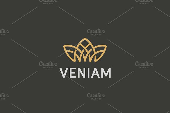 Crown Flower Lotus Logo Premium House Spa Vector Logotype Royal Line Icon Symbol