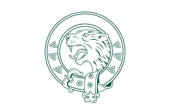 Scottish Wildcat Head Celtic Belt