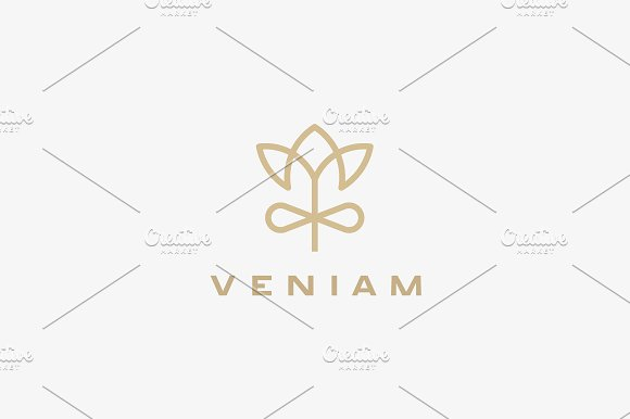 Linear Flower Gift Logo Design Elegant Crown Premium Vector Logotype