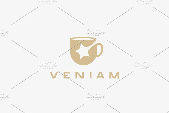 Star Cup Vector Logotype Beverage Drink Negative Space Logo