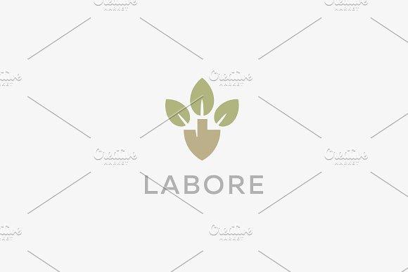 Abstract Shovel Leaf Logo Design Organic Farm Vector Logotype