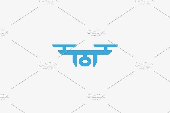 Drone Sky Viewer Logo Design Template Quadrocopter Vector Logotype