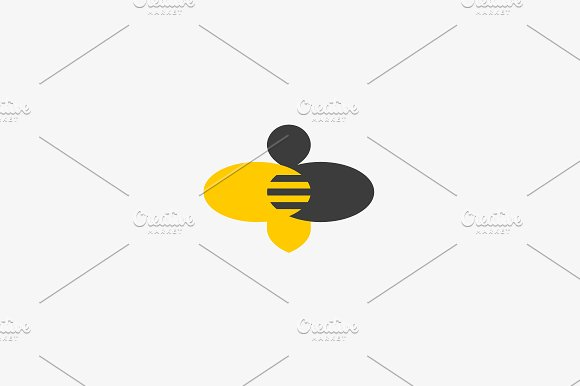 Bee Honey Creative Vector Icon Symbol Hard Work Money Logotype Hive Logo Design