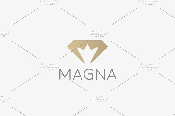 Diamond Crown Vector Logotype Gem King Royal Logo Icon Premium Idea Symbol