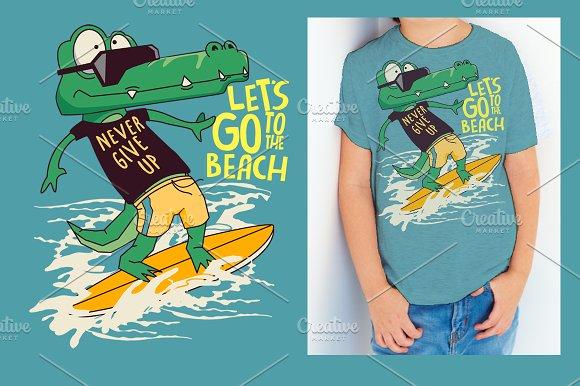 Cute Crocodile Surfer