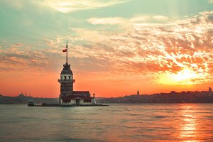 Beautiful sunset of Istanbul