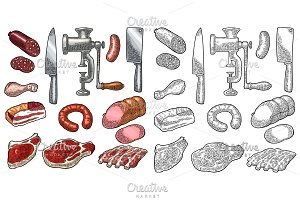 Set meat products and kitchen equipment. Vintage black vector engraving