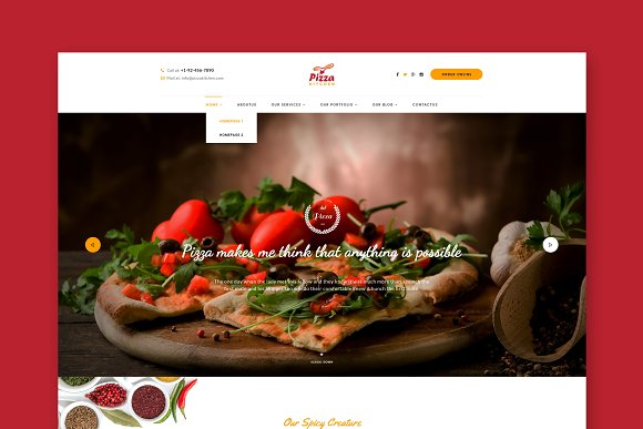 Pizza Kitchen Food HTML Template
