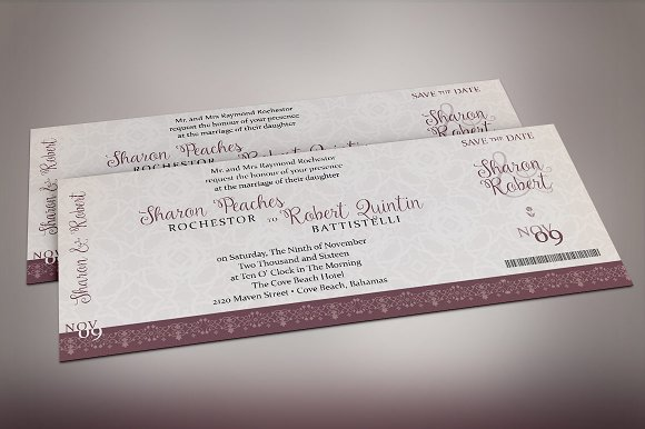 Vintage Boarding Pass Invitation Wedding Templates Creative Market